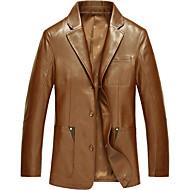 Heren Eenvoudig Leren jacks,Casual/Dagelijks / Grote matenLange mouw Zwart / Bruin Effen Speciale ledertypen