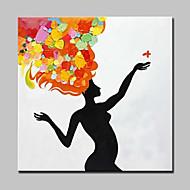 Pintada a mano Personas / Retratos Abstractos Pinturas de óleo,Modern Un Panel Lienzos Pintura al óleo pintada a colgar For Decoración