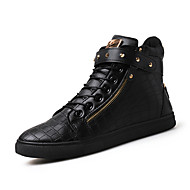 Herren-Sneaker-Outddor Büro Lässig-Leder-Flacher Absatz-Komfort-Schwarz Braun Silber