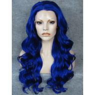 Mulher Perucas sintéticas Frente de Malha Longo Ondulado Azul Riscas Naturais Repartida ao Meio Peruca para Cosplay Peruca de Halloween