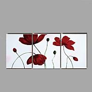 Ručno oslikana Mrtva priroda / Cvjetni / Botanički ulja na platnu,Moderna / Rustikalni Tri plohe Platno Hang oslikana uljanim bojama For