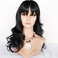 Ženy Paruky z přírodních vlasů Přírodní vlasy Se síťovanou přední částí 130% Hustota Vlnité Paruka Sytě černá Černá Tmavě hnědá Mediumt