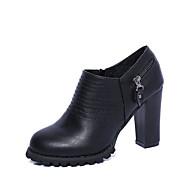נשים-מגפיים-PU-נוחות-שחור אדום אפור-יומיומי-עקב עבה