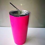 Hot Pink Cooler Rambler Tumbler 20 oz Silver Insulated Thermos Cup Mug  New