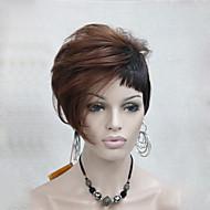 la chaleur de haute qualité amicale auburn rouge foncé mélange perruque courte de Brown asymmetri femmes