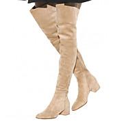 Feminino-Botas-Sapatos com Bolsa Combinando-Salto Grosso-Preto / Marrom / Amarelo / Cinza / Caqui / Amêndoa-Courino-Casual / Festas &