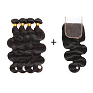 7A Brazilian Human Virgin Hair Body Wave 4*4 Lace Closure With 4 Bundles Wave Hair Wefts