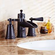 antikk utbredt keramisk ventil to håndtak tre hull med olje-gnidd bronse bad vasken tappekran
