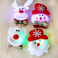 12pcs de Santa do Natal broche broche de flash tela luminosa decoração do Natal presente de Natal (estilo aleatório)