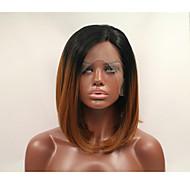 sylvia synthetische Spitzefrontseite Perücke schwarz Wurzeln dunkel braunes Haar ombre Haar hitzebeständig mittlere Länge gerade