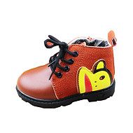 Boy's Boots Winter Comfort PU Outdoor / Casual Flat Heel Beading / Lace-up Blue / Brown Walking