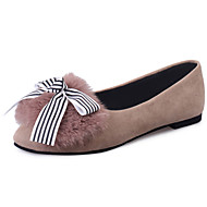 Women's Boat Shoes Winter Comfort PU Fur Casual Flat Heel Bowknot Black Camel Walking