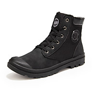 Men's Boots Fall / Winter Comfort Leatherette Casual Flat Heel Lace-up Black / Yellow Walking
