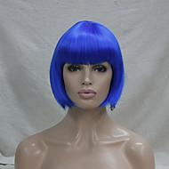 Γυναικείο Συνθετικές Περούκες Χωρίς κάλυμμα Ίσια Μπλε Κούρεμα καρέ Περούκα άνιμε φορεσιά περούκες