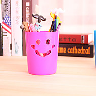 Smile Desktop Pen Holder Storage Barrel Cute Plastic Smile Cartoon (Random Colours)