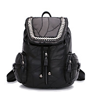 Casual Event/Party Office & Career Backpack Women Sheepskin Polyester Cotton Black