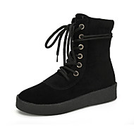 Women's Boots Fall / Winter Comfort PU Outdoor / Dress / Casual Flat Heel Lace-up Black / Beige Walking / Others