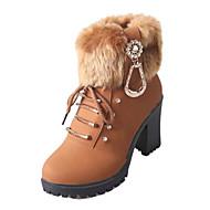 Women's Boots Fall Winter Comfort PU Casual Chunky Heel Lace-up Zipper Black Brown Walking