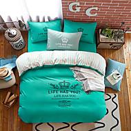 bedtoppings 4pcs להגדיר כיסוי מלך 1 שמיכת פוך שמיכה / 1 בצבע אחיד ציפית גיליון / 1 עם דפסים מיקרופייבר פולי