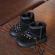 Boy's Baby Boots Winter Other Comfort Cowhide Casual Zipper Black Gray