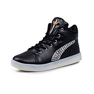女性-カジュアル-PUレザー-フラットヒール-コンフォートシューズ 靴を点灯-スニーカー-ブラック ホワイト