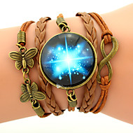 Wrap Bracelet Galaxy Brown Leather Bracelet Infinity Butterfly Fashion Jewelry Gift 1pc