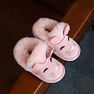 Girl's Baby Boots Winter Other Comfort Cowhide Casual Flat Heel Animal Print Pink Red Gray