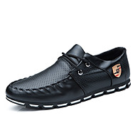 Men's Loafers & Slip-Ons Spring Fall Comfort PU Casual Flat Heel Lace-up White Black and White