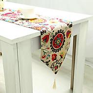 מלבני מעוטר / רקום / פרחוני ראנר לשולחן , פשתן / כותנה מעורבת חוֹמֶר שולחן Dceoration / שולחן אוכל במלון