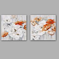 Kézzel festett Absztrakt / Virágos / Botanikus Festmények,Klasszikus / Modern Két elem Vászon Hang festett olajfestmény For lakberendezési