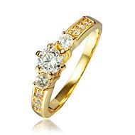 Pierscionek Cyrkonia Pozłacane 18K złoty Gold Biżuteria Ślub Impreza Codzienny Casual 1szt