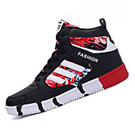 Unisex Sneakers Fall Winter Comfort PU Casual Flat Heel Lace-up Black Blue Red Others