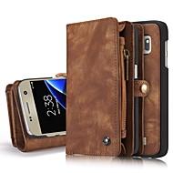 のために ウォレット カードホルダー スタンド付き フリップ ケース フルボディー ケース ソリッドカラー ハード 本革 のために Samsung S8 S8 Plus S7 edge S7