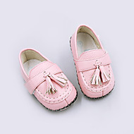 Girl's Baby Loafers & Slip-Ons Spring Fall First Walkers Pigskin Casual Flat Heel Tassel Brown Yellow Pink Red White Others