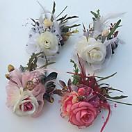 Bouquets de Noiva Rosas Alfinetes de Lapela Casamento Festa / noite Cetim Tule Pele