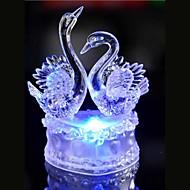 geleid kristal twee zwaan decoratie kleurrijke sfeer lamp nieuwigheid verlichting kerstverlichting
