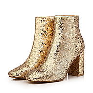 נשים-מגפיים-נצנצים-אחר-שחור זהב-שמלה יומיומי מסיבה וערב-עקב עבה