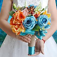 """Bouquets de Noiva Redondo Rosas Peônias Buquês Casamento Festa / noite Poliéster Cetim Tafetá Elastano Flôr Seca 9.84""""(Aprox.25cm)"""