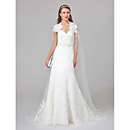 Lanting Bride® A-line Wedding Dress Watteau Train Queen Anne Tulle with Beading Lace Appliques