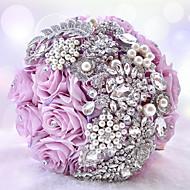 """Bouquets de Noiva Redondo Rosas Buquês Casamento Festa / noite Poliéster Cetim Tafetá Renda Elastano Strass 9.84""""(Aprox.25cm)"""