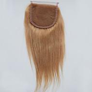 Honey Blonde Brazilian Lace Closure 4*4 Straight Middle Free 3 Part Lace Closure Bleached Knots 7A Blonde Closure Straight #27