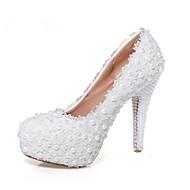 Women's Heels Platform PU Wedding Dress Casual Party & Evening Stiletto Heel Platform Pearl Flower White Walking