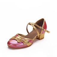 Customizable Kids' Dance Shoes Leather Modern Heels Low Heel Indoor / Outdoor / Performance Pink / White / Fuchsia