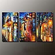 Kézzel festett Landscape / Absztrakt tájkép Festmények,Modern Három elem Vászon Hang festett olajfestmény For lakberendezési
