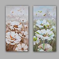 מצויר ביד מופשט / פרחוני/בוטני ציורי שמן,מודרני / ריאליסטי שני פנלים בד ציור שמן צבוע-Hang For קישוט הבית