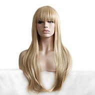Γυναικείο Συνθετικές Περούκες Χωρίς κάλυμμα Μακρύ Κυματιστά Ξανθό Με αφέλειες Απόκριες Περούκα Καρναβάλι περούκα Φυσική περούκα φορεσιά