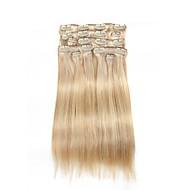 9pcs / set deluxe clipe de 120g em extensões do cabelo de piano loira 20inch 16inch 100% cabelo humano direto para mulheres