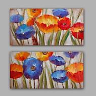 Ručně malované Abstraktní / Květinový/Botanický motiv olejomalby,Moderní / Realismus Dva panely Plátno Hang-malované olejomalba For Home