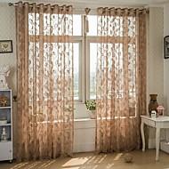 פאנל אחד טיפול חלון ארופאי , עלה חדר שינה תערובת פוליאסטר/כותנה חוֹמֶר Sheer וילונות גוונים קישוט הבית For חַלוֹן