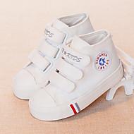 Drenge Sneakers Komfort Kanvas Forår Efterår Afslappet Gang Komfort Magisk tape Flad hæl Hvid Sort Mørkeblå Rød Flad